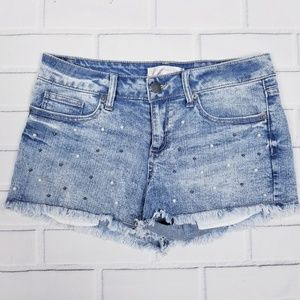 No Boundaries Light Wash Shorty Shorts Raw Hem